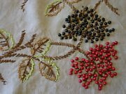 Fabulous Vintage/antique Tablecloth Arts And Crafts Ecru Linenembroiderybeads