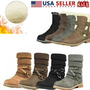 Dream Pairs Women's Winter Warm Faux Fur Lined Mid Calf Snow Boots Zip Up Boots