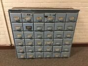Antique 36 Drawer Apothecary Cabinet Cupboard With Labeled Ornate Drawer Pulls