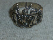 Sterling Silver 925 Looney Tunes Ring Band Tweety Bugs Daffy Sylvester Size 7