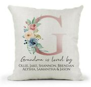 Personalised Grandma Is Loved By.. Cream Cushion Pink Blue Floral Birthday Xmas