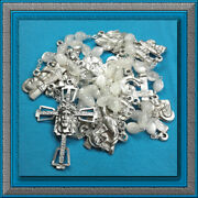Catholic Rosary Chaplet Mother Of Pearl Glass Beads Stations Of The Cross New