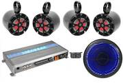 4 8 Marine Wakeboard Speakers W/led+10 Free Air Sub+memphis 5-ch Amplifier