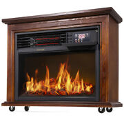 Large Room Electric Infrared Fireplace Heater Wood Mantel Insert Heat W/ Casters
