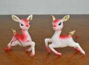 Vtg Pair Plastic Rudolph Reindeer Christmas Ornaments Pink Red Movable Head