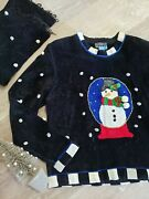 Rare Vintage 90s Ugly Tacky Christmas Sweater Size Medium Matching Scarf