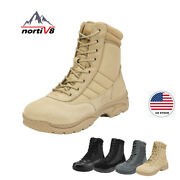 Nortiv 8 Menand039s Zip Military Tactical Work Boots Leather Motorcycle Combat Boots