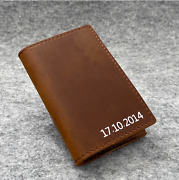 Personalised Handmade Leather Wallet Card Holder, Christmas Gift For Dad And Mum