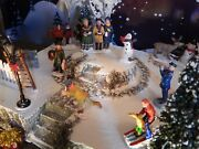 Christmas Park Display Base, Dept 56 Village With Rock Wall And Sidewalk, Lemax