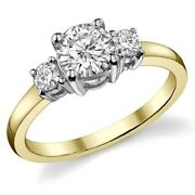 3.50ct Forever One Moissanite 4 Prong 3-stone Ring Two Tone 14k Gold