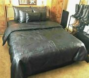 Soft Sheep Nappa Real Leather King Size Bed Set With Two Pillows
