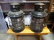 Russell And Stoll Brass And Iron Marine Industrial Cage Lanterns Pair
