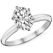 5.66ct Womenand039s Unique 14k Wg Oval Moissanite 6 Prong Solitaire Engagement Ring