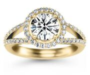 3.00ct Round Forever One Moissanite Split Shank Halo Engagement Ring Yellow Gold