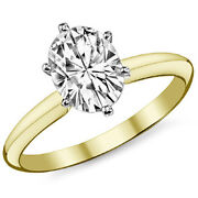 4.15ct Womenand039s Stylish 14k Yg Oval Moissanite 6 Prong Solitaire Engagement Ring