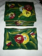 Vintage 1960and039s Pauls Italy Hand Painted Box With Two Trays