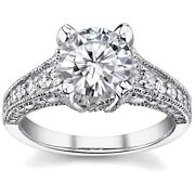 3ct Round Forever Brilliant Moissanite And Diamond Antique Engagement Ring 14k