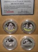 2006 Ghana Yr.dog Sika Colored Proof Silver Coins Set With And Coa