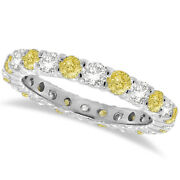 2ct Fancy Yellow Canary And White Diamond Eternity Ring 14k White Gold