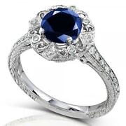 1.48ct Vintage Sapphire And Diamond Cocktail Ring 14k White Gold