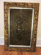 Vintage Hand Hammered Embossed Egyptian Woman Wood Carved Frame Wall Hanging