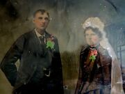 Antique Hand-colored Full Plate Tintype Photograph Wedding Picture And Wood Frame