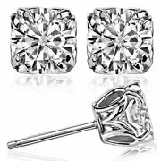 Double Prong Antique Round Forever One Def Moissanite Stud Earrings 14k Gold