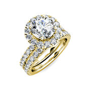 2.15 Ct Forever One Moissanite Round Micro Pave Halo Wedding Set Ring