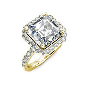 3.05 Ct Asscher Cut One Moissanite And Round Diamond Halo Engagement Ring 18k G
