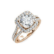 18k White Gold Cushion Forever One Moissanite And Diamond Engagement Ring 2.70ct