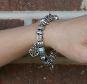 Authentic All Pandora 925 Ale 20-charms Sterling Silver Beads Bracelet