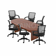 Gof 8ft Conference Table And Chair G10900b Set-cherryespresso Mahogany Walnut