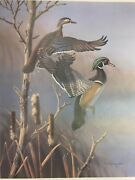 Two - Morning Mist Prints By Ronald Louque A Vintage 1984 Poster Print