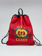 Red Leather Coco Capitan Logo Drawstring Backpack Bag