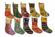 50 Pc Lot Indian Vintage Recycled Cotton Kantha Christmas Stockings Hangers Gift