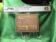 July 2 1780 Rhode Island 20 Dollar Colonial Currency Note Ri-289 Pmg S 1808