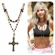 Sterling Silver Brown Pearl And Crystal Cross Kinley Rosary Necklace