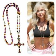 Sterling Silver Copper Pearl And Crystal Cross Kinley Rosary Necklace