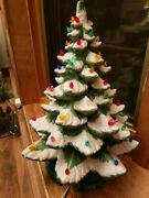 Vintage 1960and039s Or 70and039s Ceramic Light Up Christmas Tree 21 Inches Tall