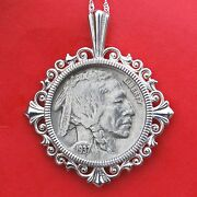 Us 1937 Indian Head Buffalo Nickel Solid 925 Sterling Silver Necklace New