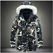 Winter Men Thick Camo Trench Coat Fur Collar Hooded Cotton Overcoat Parka Jacket