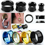 Pair Pvd Plated Steel Screw On Double Flared Saddle Ear Plugs Flesh Tunnel 8g-1
