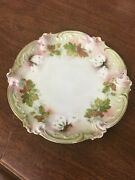 Rs Prussia 6-1/4 Molded Hp Plate White Flowers Green Leaves