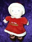 Carters Just One Year My First Christmas Girl Doll 10 Blonde W Blue Eyes Plush