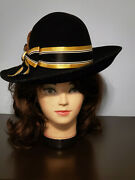Henry Pollak Ny Frank's Girl By Frank Olive Blk Mohair Felt Pheasant Feather Hat