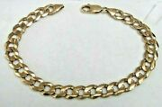 10k Yellow Gold Menand039s Heavy Link Bracelet 9.5 Local Estate Piece Just Gorgeous