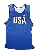New Nike Team Usa Digital Race Day Tight Tank Menand039s Large Blue 880462 55 Usatf