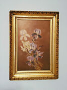 F.w. Devoe And Co. Board Antique Gold Gilt Wood Framed Purple Iris Oil Painting