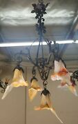 Art Deco Style Wrought Iron Chandelier With 5 Flowing Blown Glass