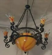 Vintage Wrought Iron Chandelier Yellow/red Glass Shades Art Deco Style Hand Made